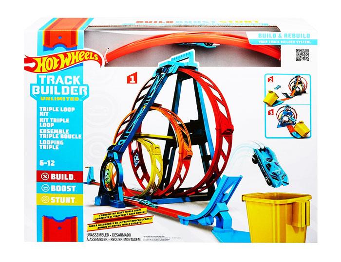toko mainan online HOT WHEELS TRACK BUILDER TRIPLE LOOP KIT - GLC96