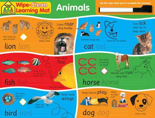 toko mainan online School Zone Wipe-Clean Learning Mat Animals