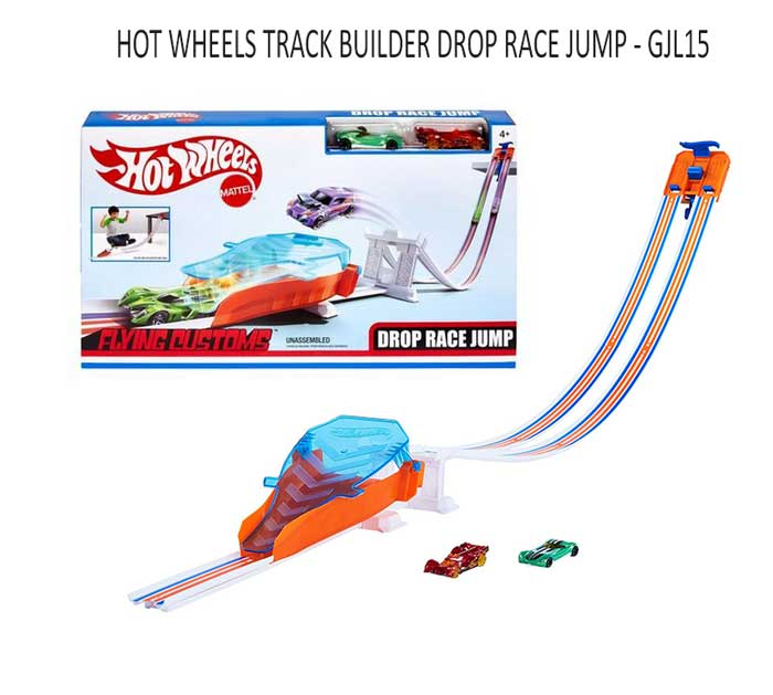 toko mainan online HOT WHEELS TRACK BUILDER DROP RACE JUMP - GJL15