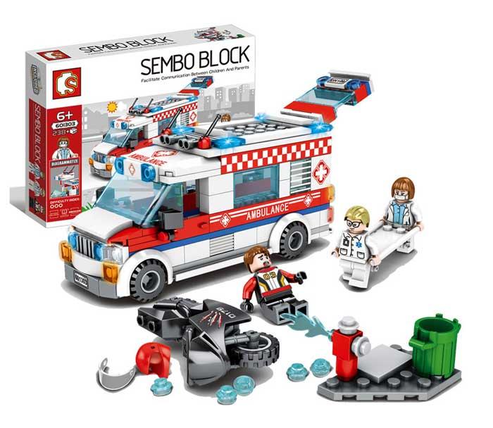 toko mainan online SEMBO AMBULANCE 238PCS - 601303